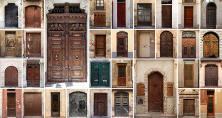 Set of 32 old doors and gates