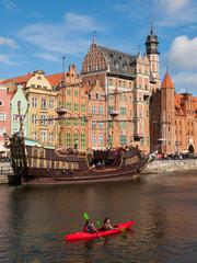 Old ship on Motlawa river in Gdansk historical centre