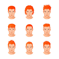 Set different hair style young men portraits isolated vector