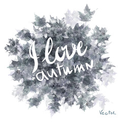 Vector watercolor autumn leaves maple leaf flora