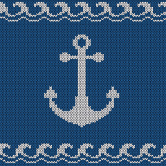 Knitted seamless pattern with anchor