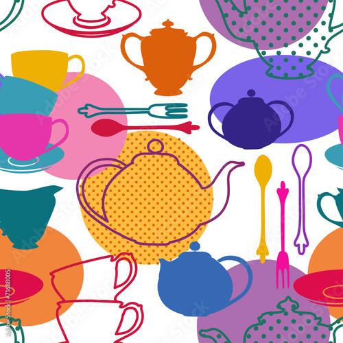 Seamless pattern of tea set dishes © Annykos