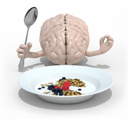 brain with hands and fork in front of a cerealsi dish