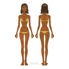 Fat and thin woman, vector illustration, normal, anorexia body