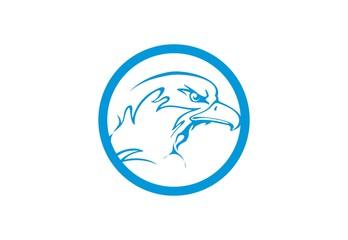 head eagle blue logo vector