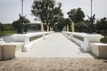 The White Bridge in bang pa-in palace at Ayutthaya Province