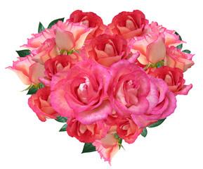 Heart of rose flowers