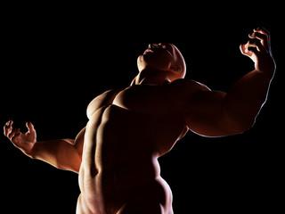 Strongman, hero showing his muscular body. Winner, alpha male
