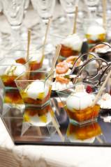 Party buffet with mozzarella