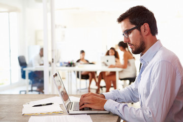 Man Using Laptop In Modern Office Of Start Up Business