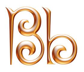 B Golden 3d alphabets render isolated on white