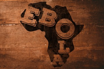 Composite image of black ebola text on africa outline