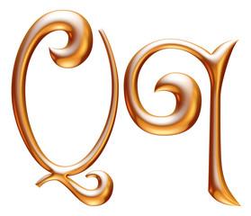 Q Golden 3d alphabets render isolated on white