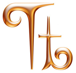 T Golden 3d alphabets render isolated on white