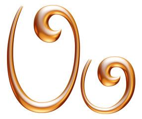 U Golden 3d alphabets render isolated on white