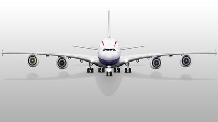 Passagierflugzeug, Jumbo jet mit Fahrwerk