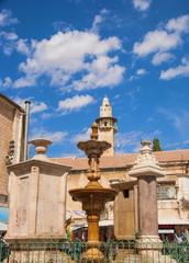old fountain in square Muristan in Jerusalem