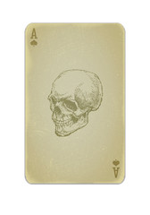 Poker card vector with skull