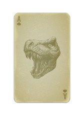 Poker card vector with trex