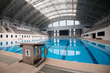 Starting block No.1 in an empty swimming pool