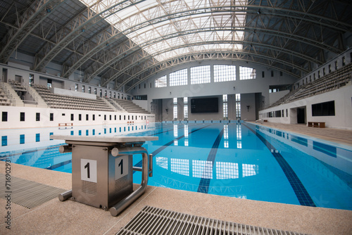 Aluminium Stadion Starting block No.1 in an empty swimming pool