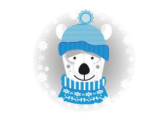 kleiner Eisbär mit Pullover und Mütze