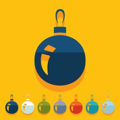 Flat design: christmas ball