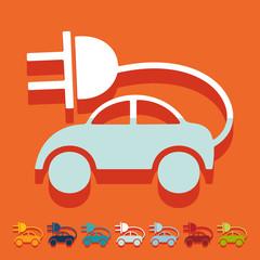 Flat design: eco car