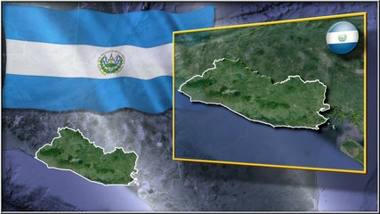 El Salvador flag and map animation