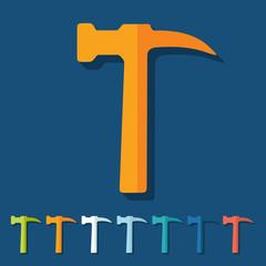 Flat design: hammer