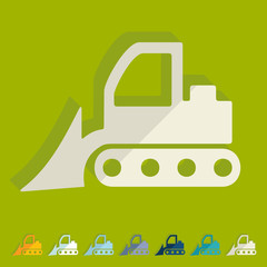 Flat design: bulldozer