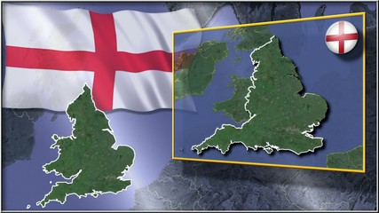England flag and map animation