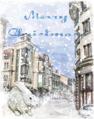 bunny on the city street. Christmas greeting card.