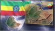 Ethiopia flag and map animation