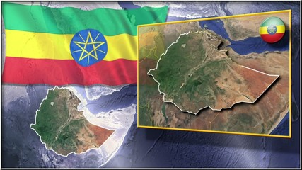 Ethiopia flag and map animation