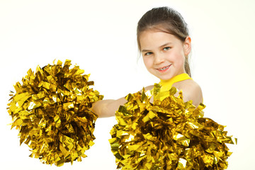 Smiling beautiful cheerleader with pompoms. Isolated on white