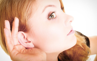 woman blonde buisnesswoman listening on white