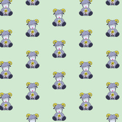 Baby Goats  seamless pattern / cartoon - Illustration