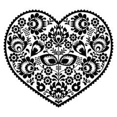 Polish black folk art heart pattern on white