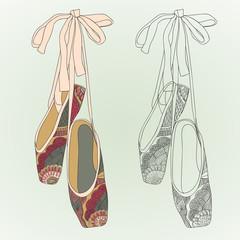 Dancing shoes, ballet shoes.
