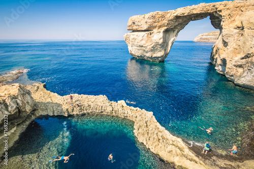 Plexiglas Eilanden The world famous Azure Window in Gozo island Malta