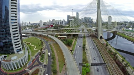 Aerial view of Morumbi and the famous bridge in Sao Paulo