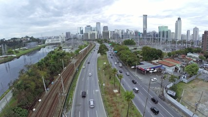 Traffic in Marginal Pinheiros in Sao Paulo, Brazil
