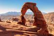 Leinwandbild Motiv Freestanding natural arch located in Arches National Park