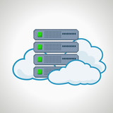 Cloud technologies. Computer icon server. design element