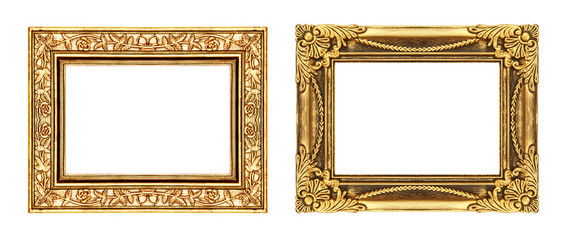vintage gold frame isolated on white background and clipping pat