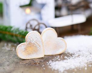 Winter, zwei Herzen