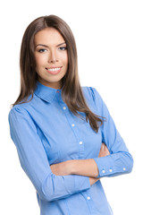 Portrait of smiling businesswoman, isolated