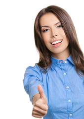 Businesswoman showing thumbs up gesture