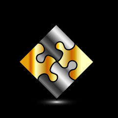 Gold and silver puzzle- corporate logo for business